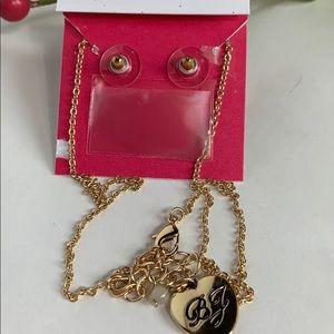 Betsey Johnson Jewelry - Betsey Johnson Heart Pendant & Stud Earrings Set
